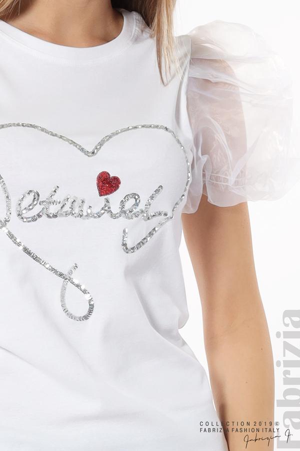 Блуза със сърце от пайети бял 3 fabrizia