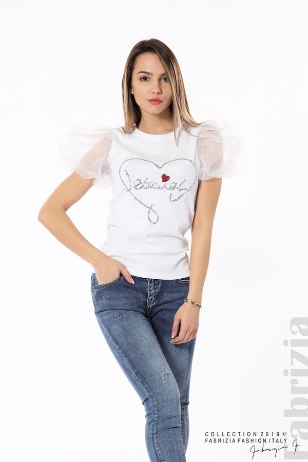 Блуза със сърце от пайети бял 4 fabrizia