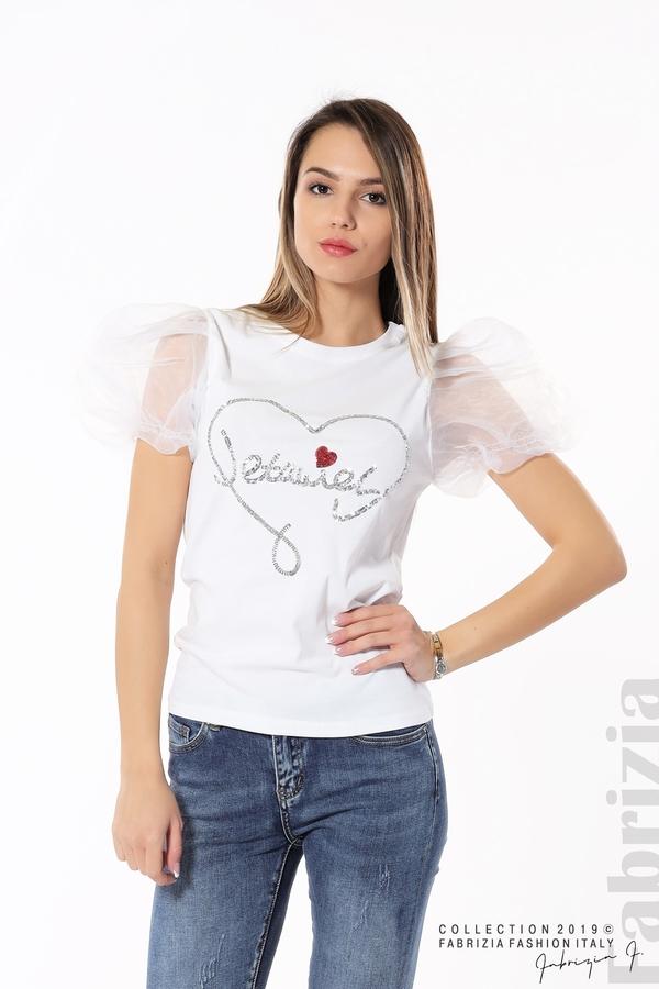 Блуза със сърце от пайети бял 5 fabrizia