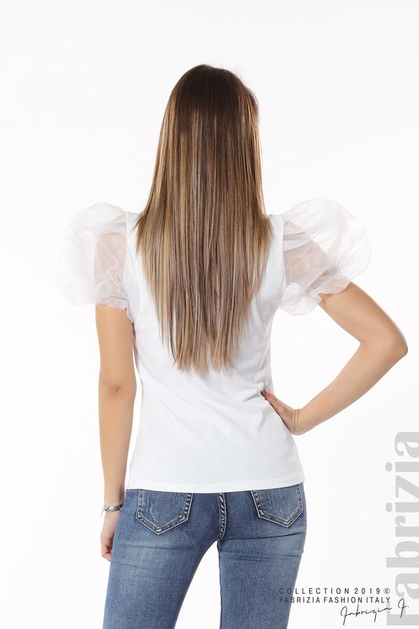 Блуза със сърце от пайети бял 6 fabrizia