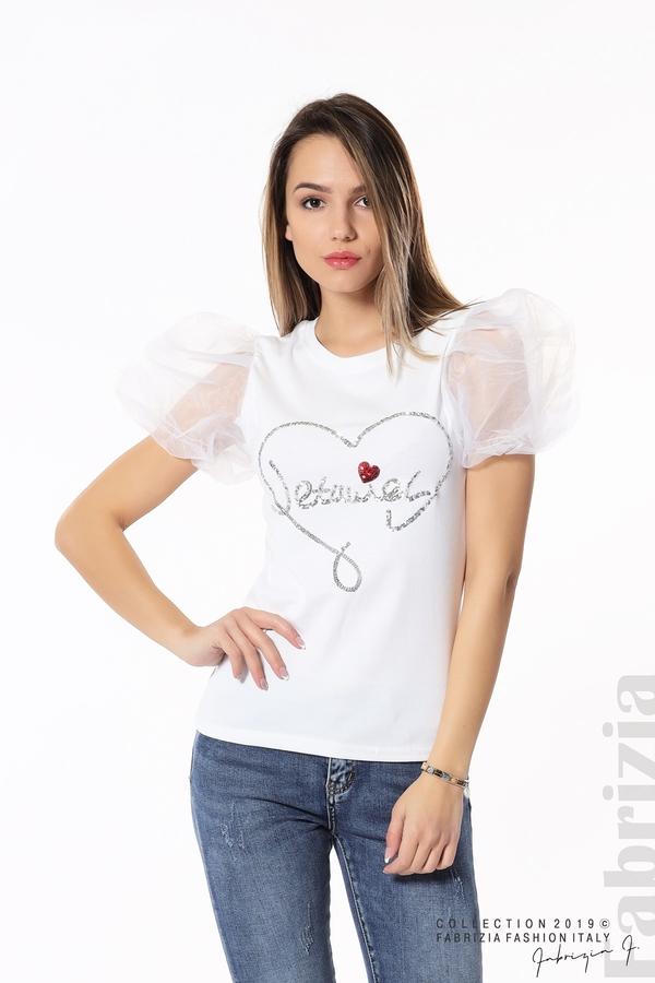 Блуза със сърце от пайети бял 1 fabrizia