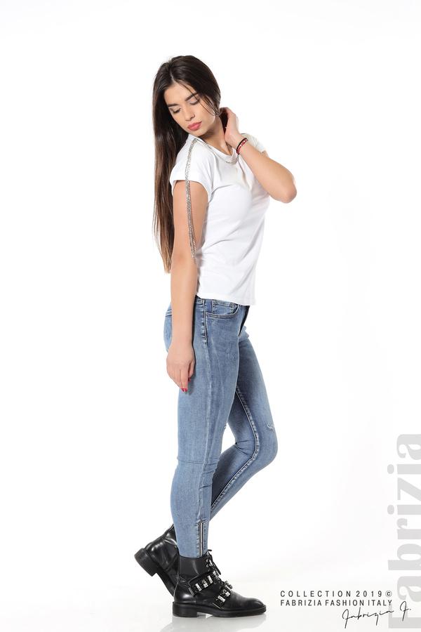 Блуза с ресни от камъчета на ръкава бял 3 fabrizia