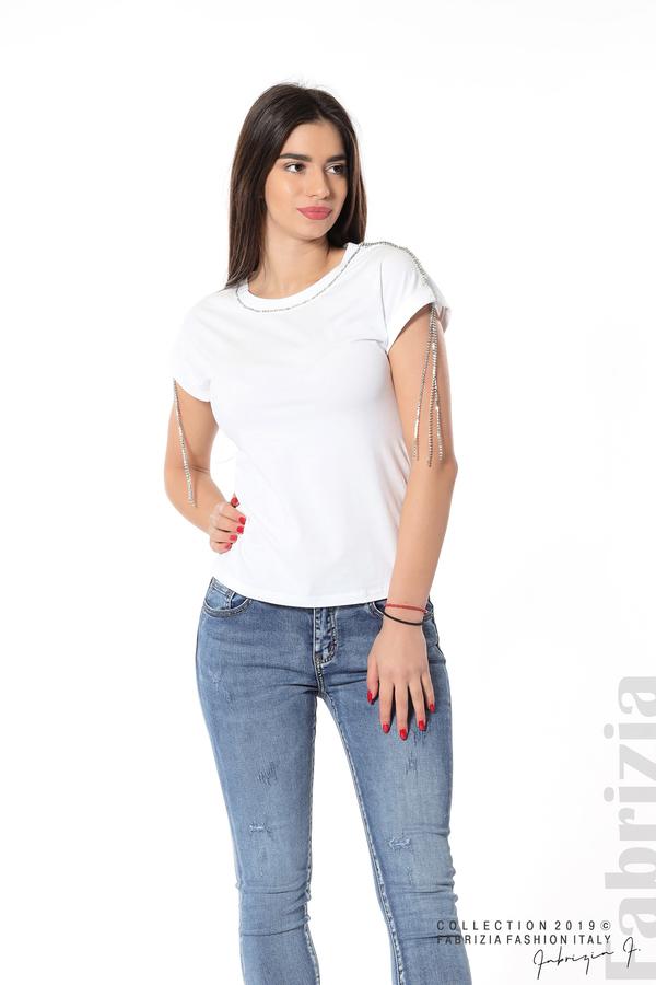 Блуза с ресни от камъчета на ръкава бял 5 fabrizia