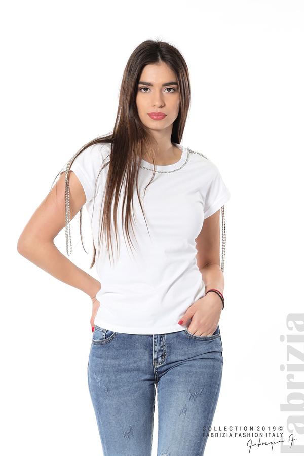 Блуза с ресни от камъчета на ръкава бял 1 fabrizia
