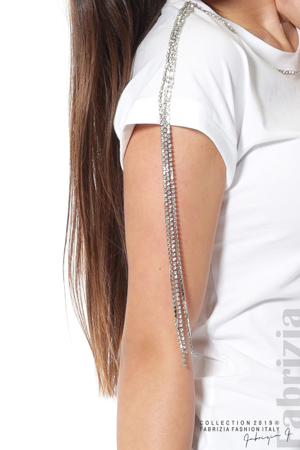 Блуза с ресни от камъчета на ръкава бял 4 fabrizia