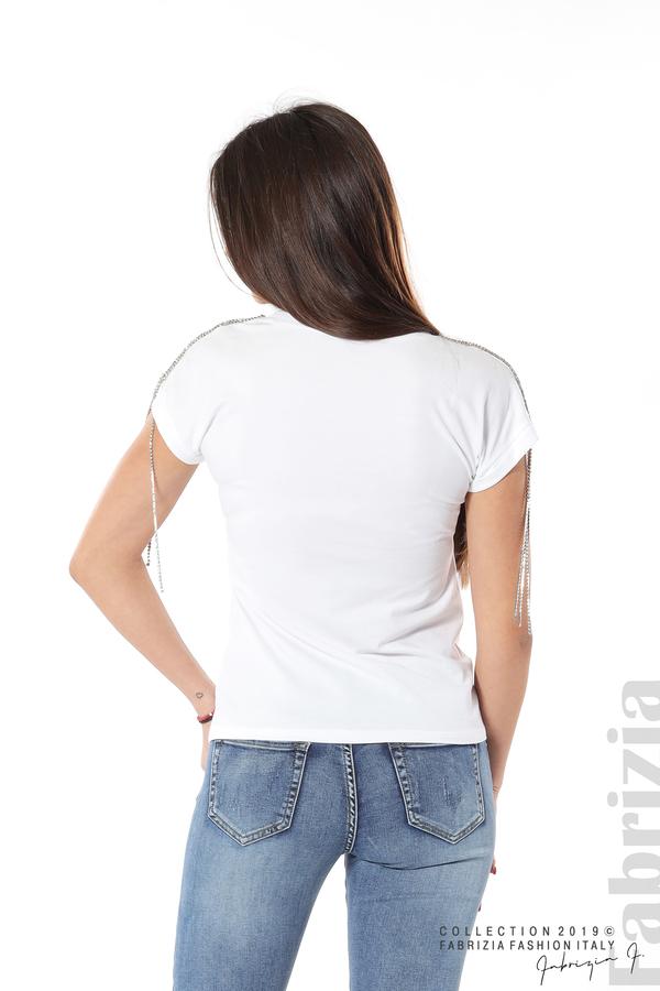 Блуза с ресни от камъчета на ръкава бял 6 fabrizia