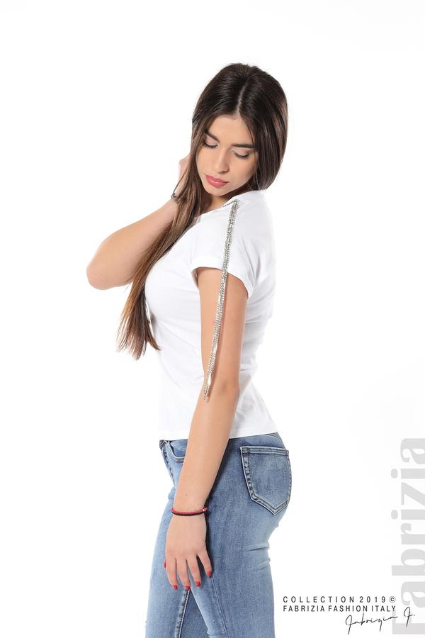 Блуза с ресни от камъчета на ръкава бял 2 fabrizia