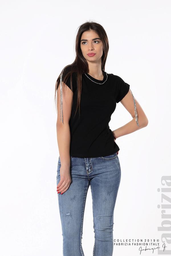 Блуза с ресни от камъчета на ръкава черен 4 fabrizia