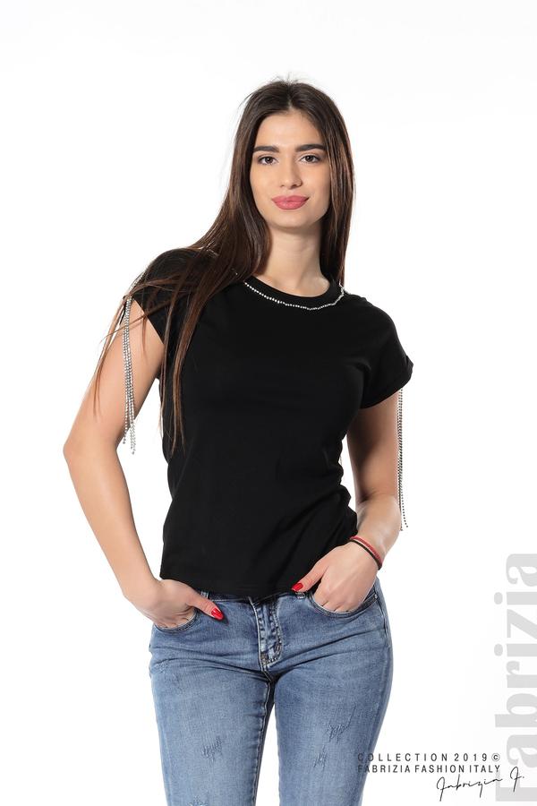 Блуза с ресни от камъчета на ръкава черен 2 fabrizia