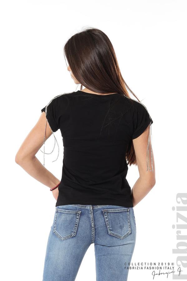Блуза с ресни от камъчета на ръкава черен 5 fabrizia