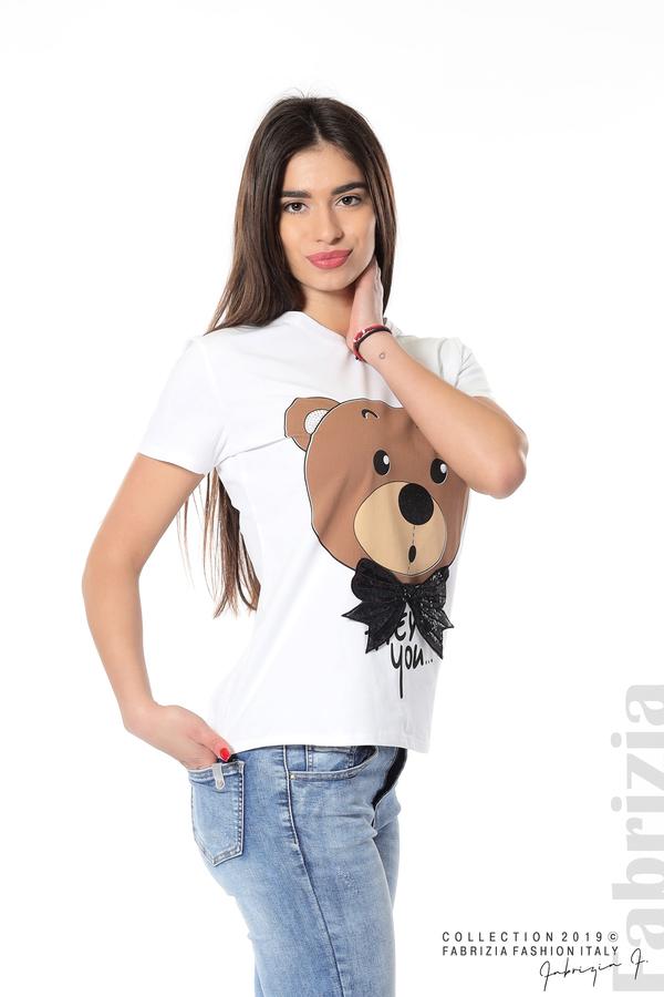 Дамска блуза с щампа мече бял 2 fabrizia