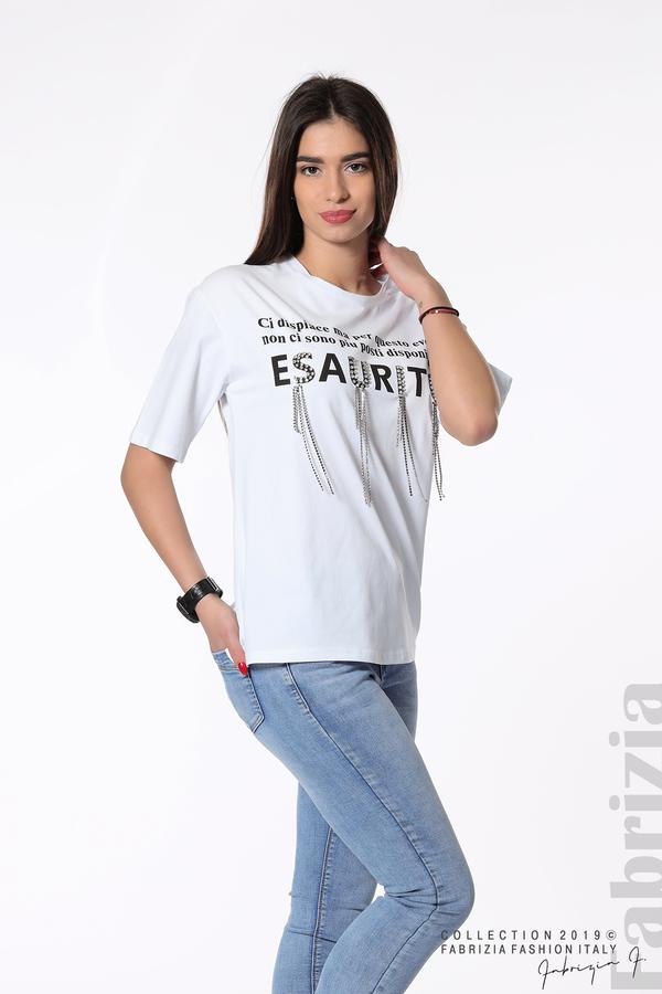 Дамска блуза с надпис Esaurito бял 2 fabrizia