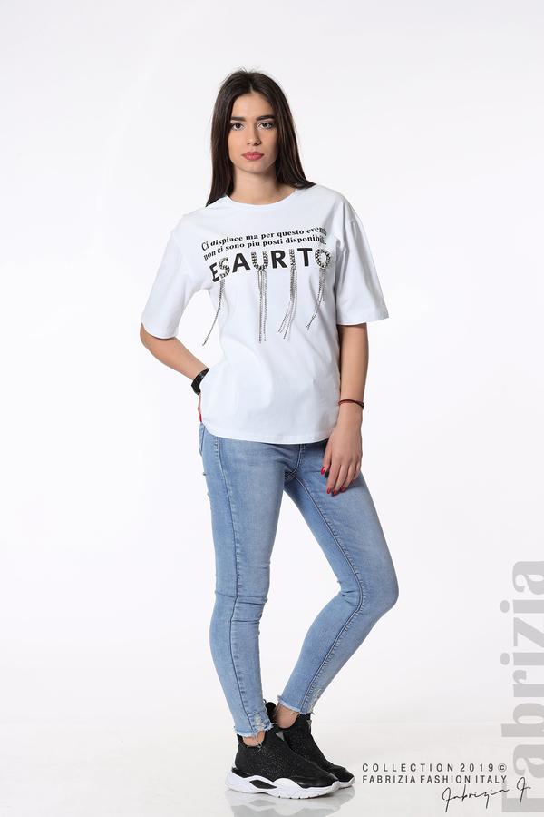 Дамска блуза с надпис Esaurito бял 5 fabrizia
