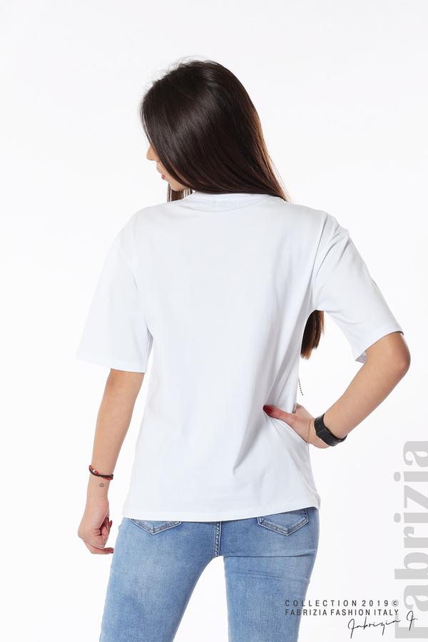 Дамска блуза с надпис Esaurito бял 6 fabrizia