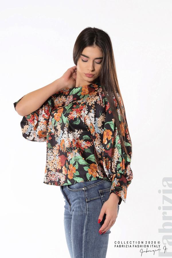 Дамска блуза на цветя с широки ръкави черен 1 fabrizia
