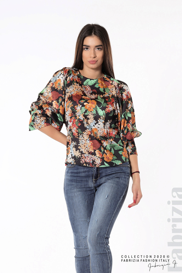 Дамска блуза на цветя с широки ръкави черен 3 fabrizia