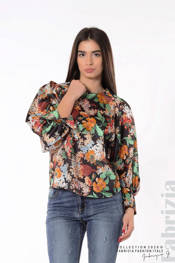 Дамска блуза на цветя с широки ръкави черен 2 fabrizia