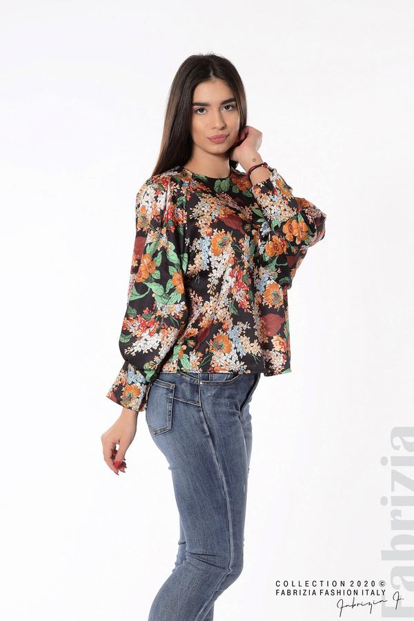 Дамска блуза на цветя с широки ръкави черен 4 fabrizia