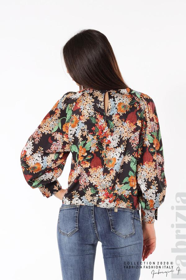 Дамска блуза на цветя с широки ръкави черен 5 fabrizia
