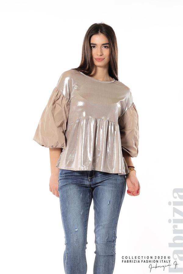 Лъскава блуза с буфан ръкав мляко с какао 2 fabrizia