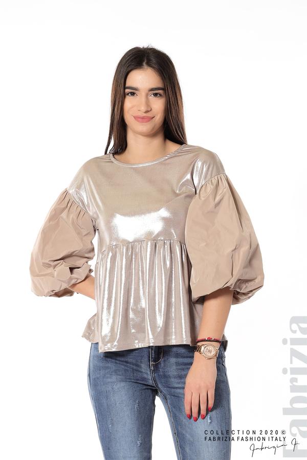 Лъскава блуза с буфан ръкав мляко с какао 1 fabrizia