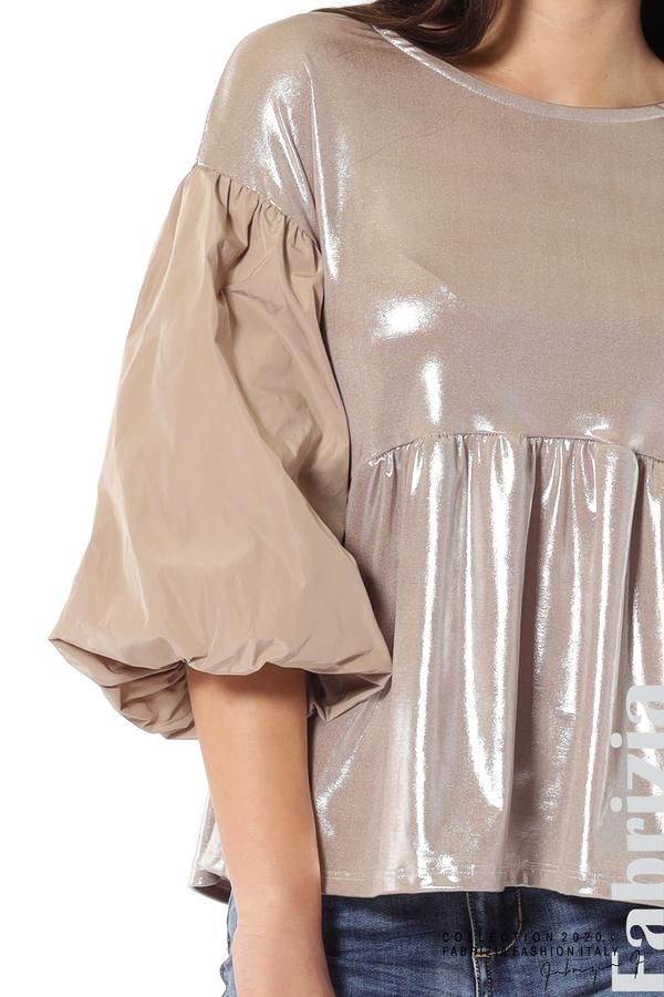 Лъскава блуза с буфан ръкав мляко с какао 4 fabrizia
