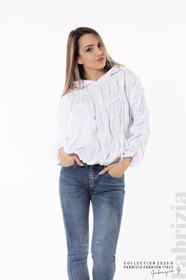 Ефектна дамска блуза с качулка бял 5 fabrizia