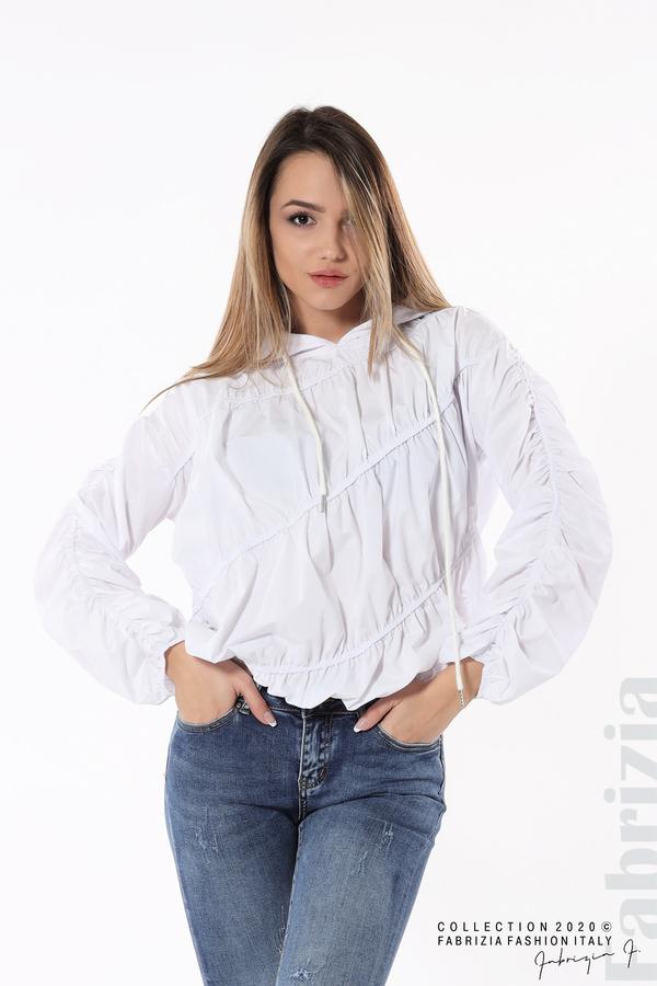 Ефектна дамска блуза с качулка бял 1 fabrizia
