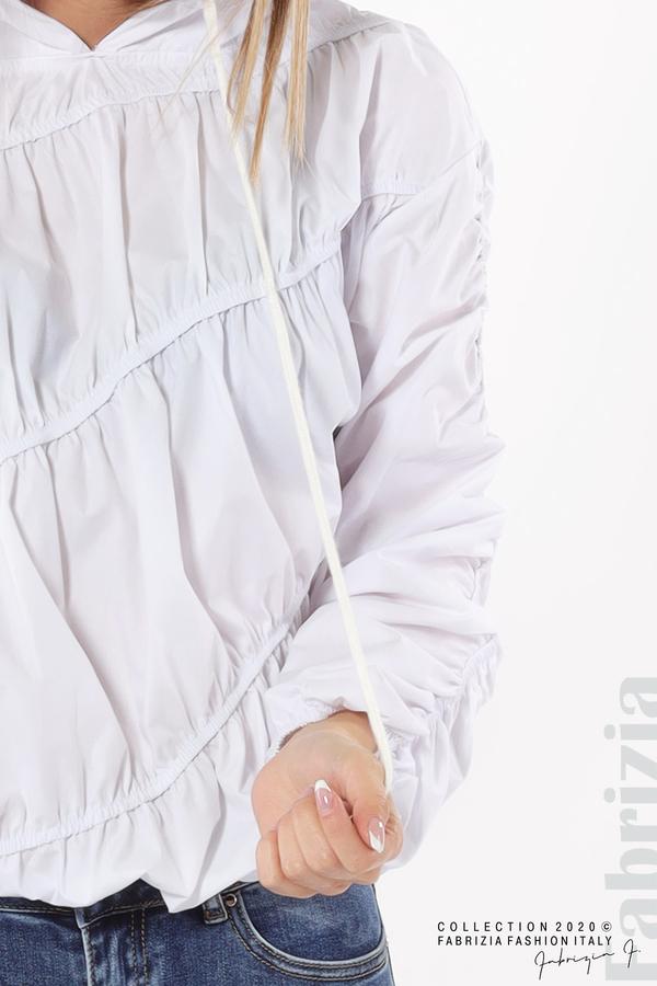 Ефектна дамска блуза с качулка бял 4 fabrizia