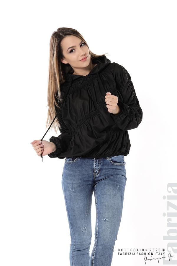Ефектна дамска блуза с качулка черен 3 fabrizia