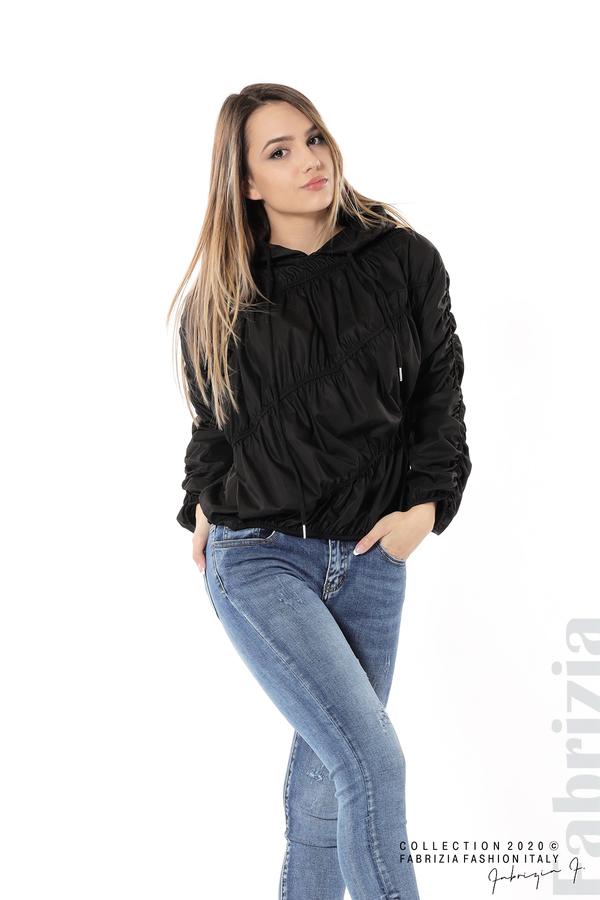 Ефектна дамска блуза с качулка черен 5 fabrizia