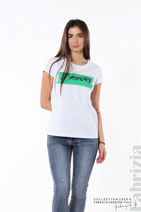 Дамска блуза с надпис J'adore бял/зелен 2 fabrizia