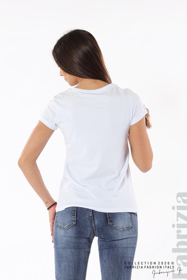 Дамска блуза с надпис J'adore бял/зелен 5 fabrizia