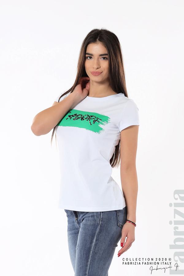 Дамска блуза с надпис J'adore бял/зелен 1 fabrizia