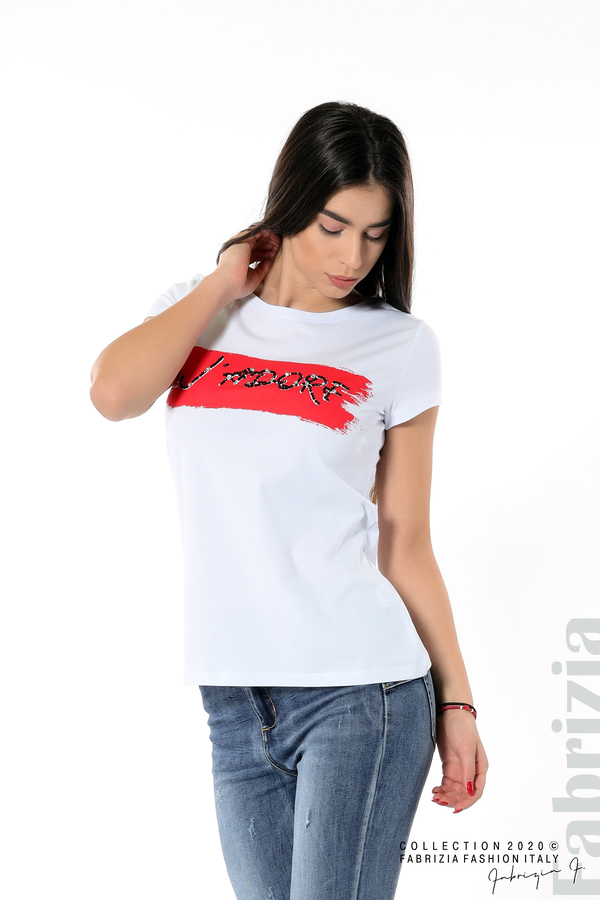 Дамска блуза с надпис J'adore бял/червен 2 fabrizia