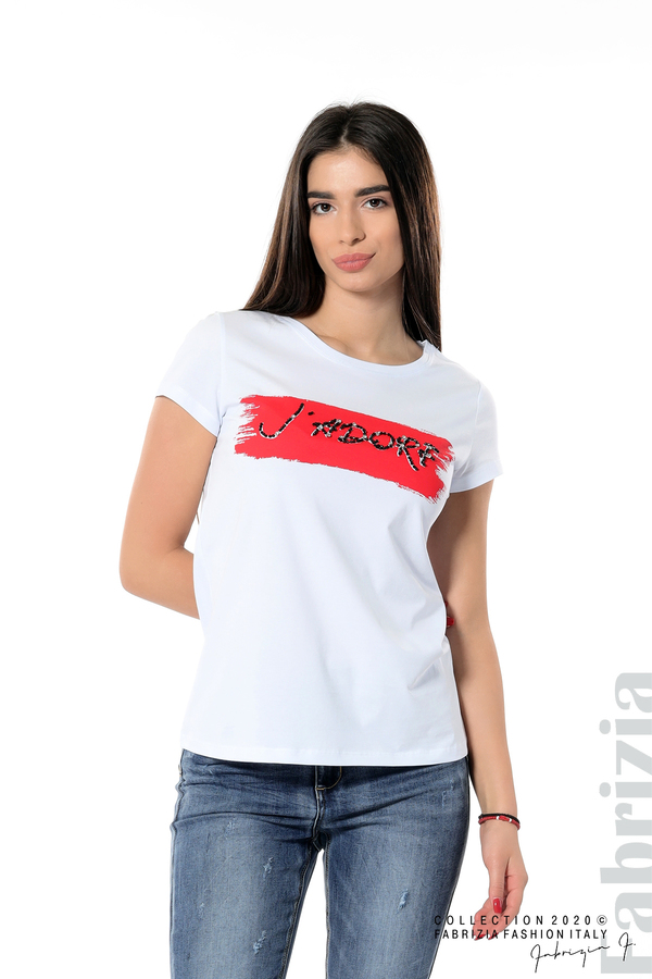 Дамска блуза с надпис J'adore бял/червен 1 fabrizia