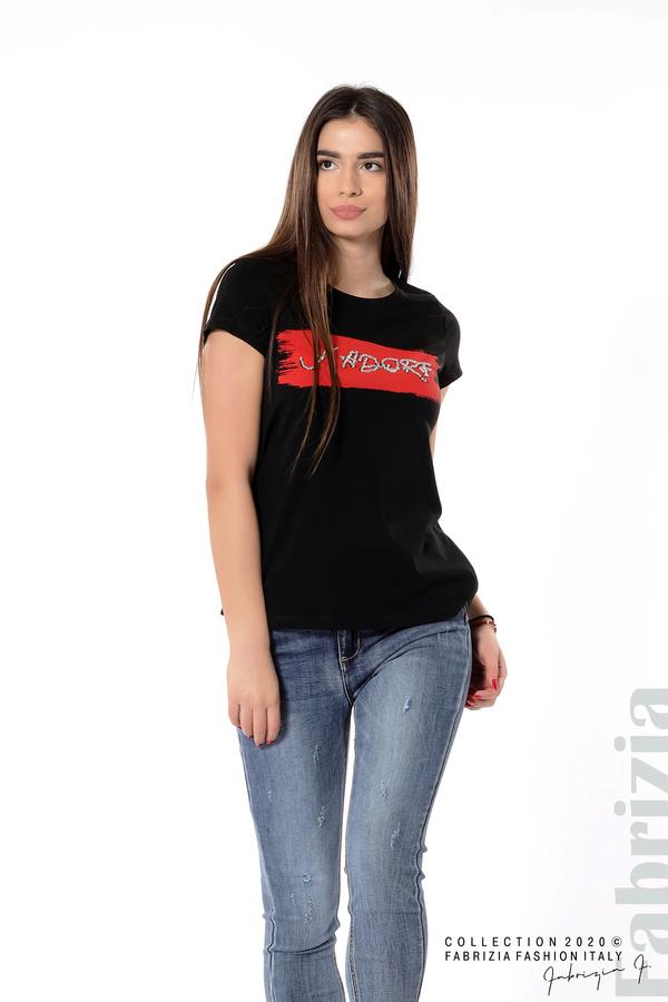 Дамска блуза с надпис J'adore черен 2 fabrizia