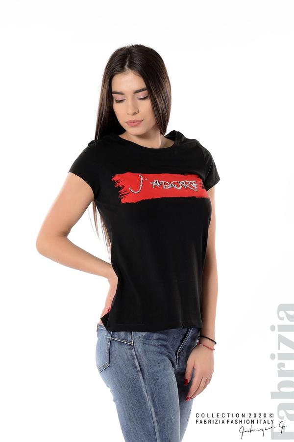 Дамска блуза с надпис J'adore черен 1 fabrizia
