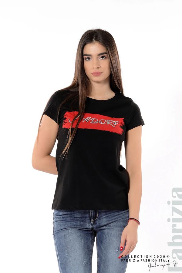 Дамска блуза с надпис J'adore черен 4 fabrizia