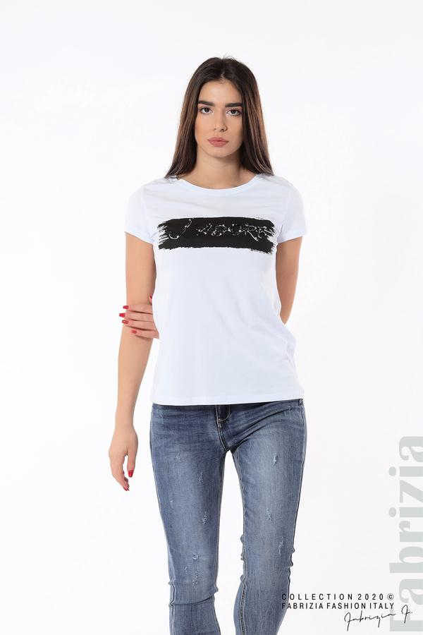 Дамска блуза с надпис J'adore бял/черен 4 fabrizia