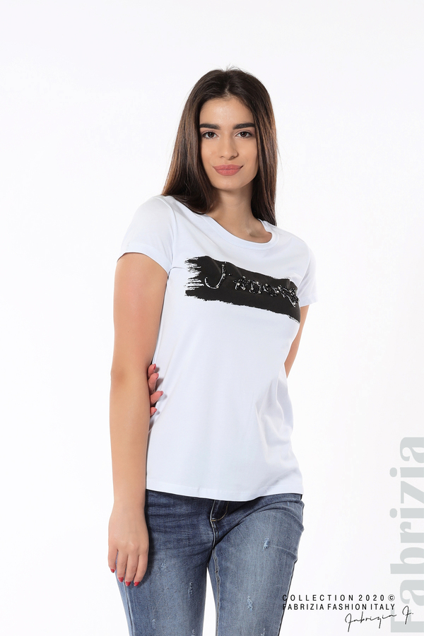 Дамска блуза с надпис J'adore бял/черен 1 fabrizia