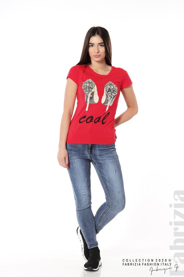 Блуза с надпис Cool и декорация с капси и камъни червен 3 fabrizia