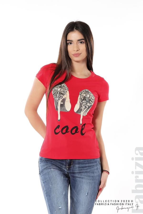 Блуза с надпис Cool и декорация с капси и камъни червен 1 fabrizia