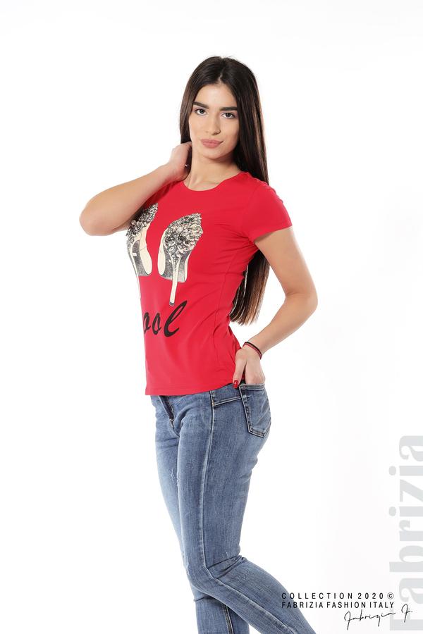Блуза с надпис Cool и декорация с капси и камъни червен 2 fabrizia