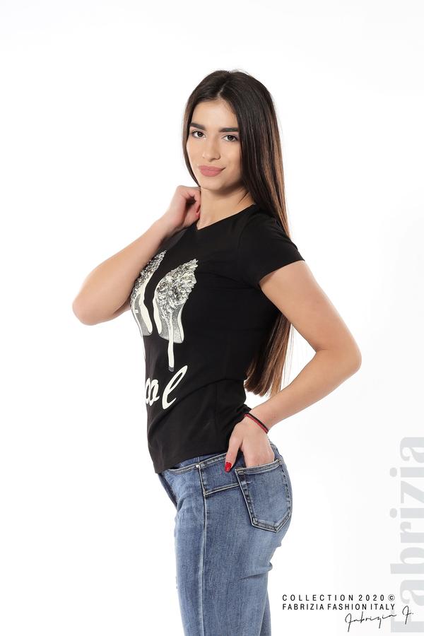 Блуза с надпис Cool и декорация с капси и камъни черен 2 fabrizia