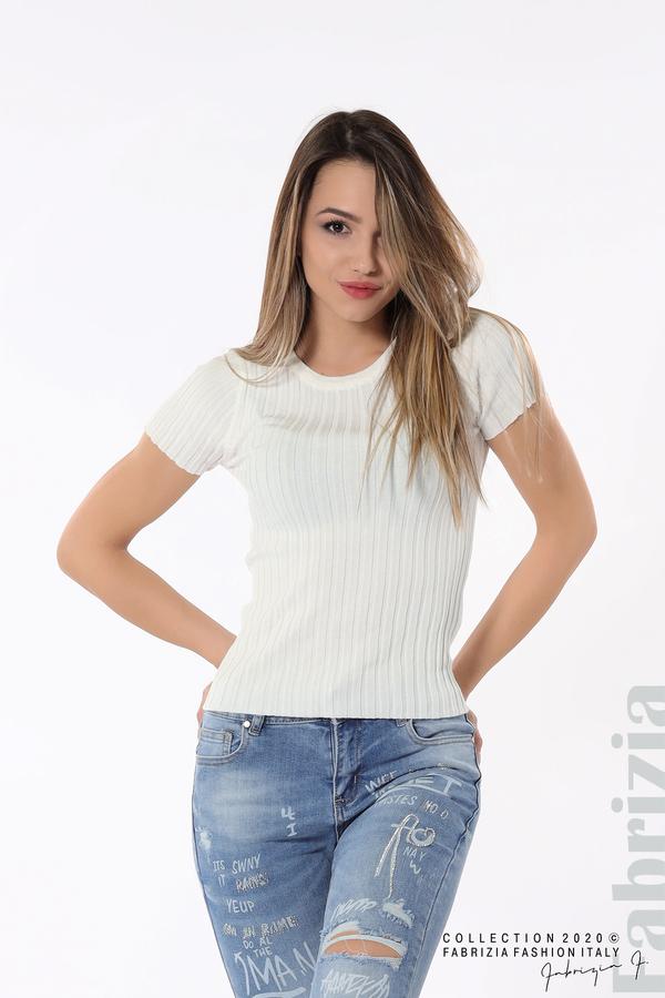 Рипсена блуза с къс ръкав бял 1 fabrizia