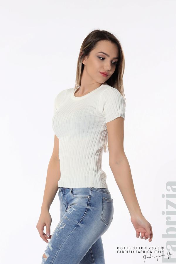 Рипсена блуза с къс ръкав бял 2 fabrizia