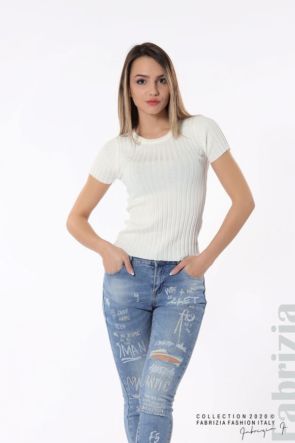 Рипсена блуза с къс ръкав бял 3 fabrizia