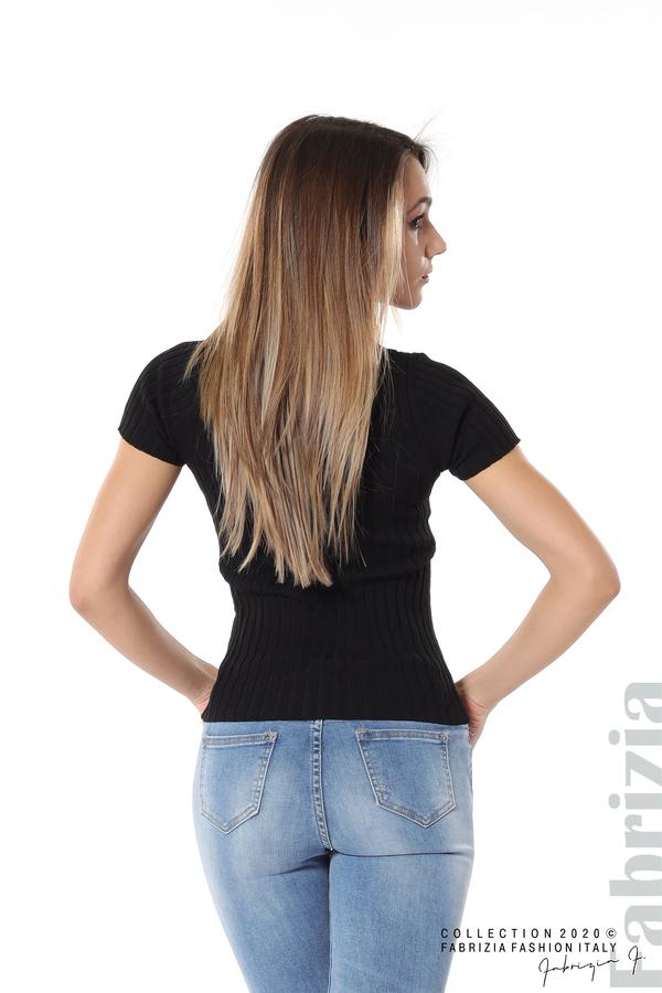 Рипсена блуза с къс ръкав черен 4 fabrizia