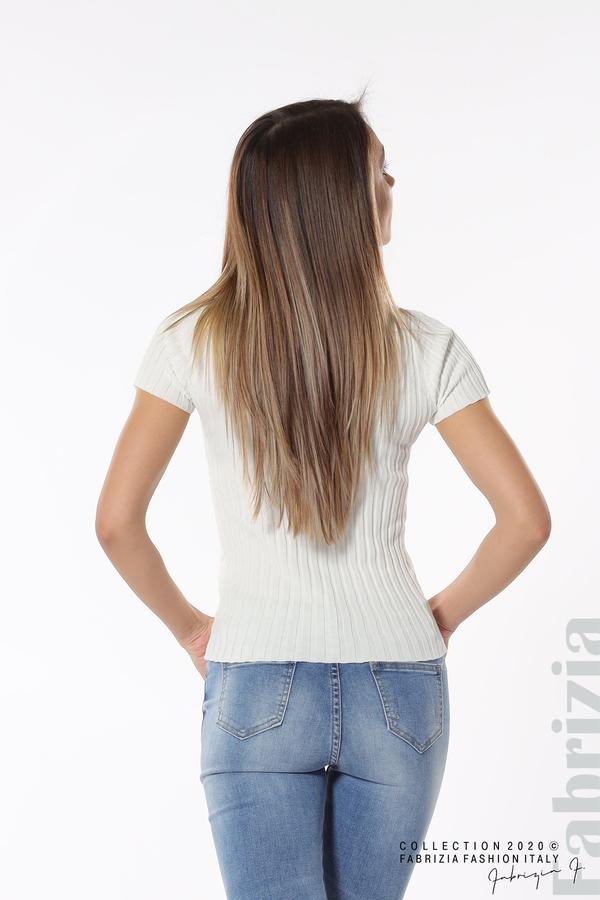 Рипсена блуза с къс ръкав бял 5 fabrizia